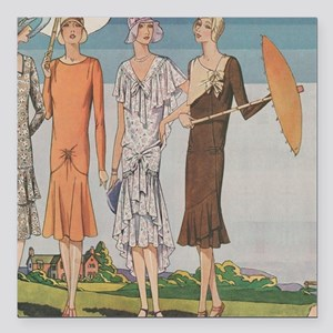 "1920s Summer Fashions Square Car Magnet 3"" x 3"""