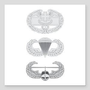 "CFMB Airborne Air Assault Square Car Magnet 3"" x 3"