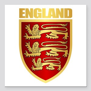 "English Royal Arms Square Car Magnet 3"" x 3"""