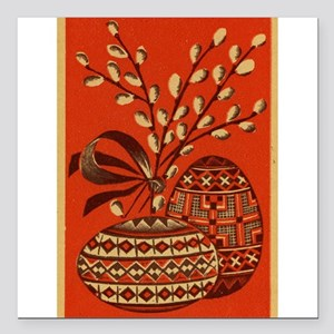 """Vintage Russian Easter Card Square Car Magnet 3"""" x"""