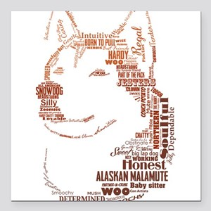 "Malamute Words Square Car Magnet 3"" x 3"""
