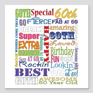 "60th Birthday Typography Square Car Magnet 3"" x 3"""