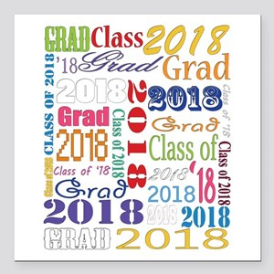 "2018 Graduation Typograp Square Car Magnet 3"" x 3"""