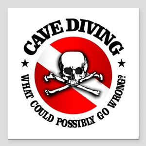 "Cave Diving (Skull) Square Car Magnet 3"" x 3"""