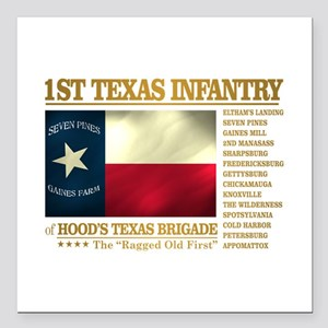"""1st Texas Infantry (BH2) Square Car Magnet 3"""" x 3"""""""