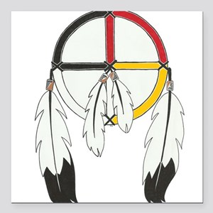 """Feathered Medicine Wheel Square Car Magnet 3"""" x 3"""""""