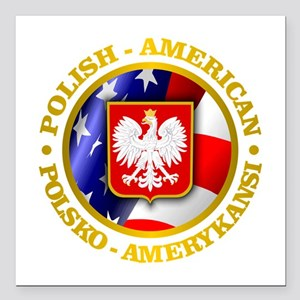 "Polish American Square Car Magnet 3"" x 3"""