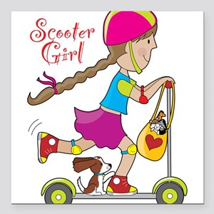 """Scooter Kid Square Car Magnet 3"""" x 3"""""""