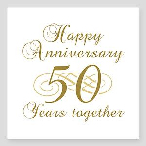 50th Anniversary (Gold Script) Square Car Magnet 3