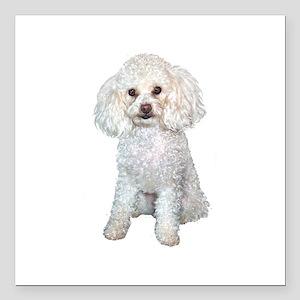 """Poodle - Min (W) Square Car Magnet 3"""" x 3"""""""