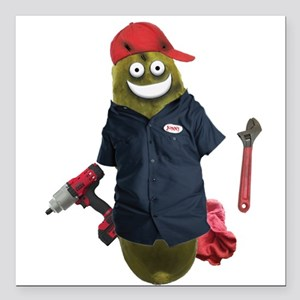 "Mechanic Pickle Square Car Magnet 3"" x 3"""