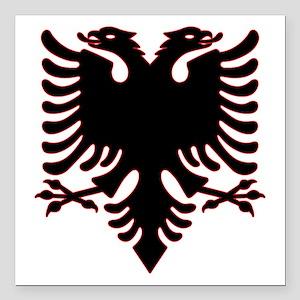 "Albanian Eagle Square Car Magnet 3"" x 3"""