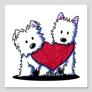 "Heartfelt Westies Square Car Magnet 3"" x 3"""