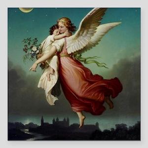 "Guardian Angel by Wilhel Square Car Magnet 3"" x 3"""