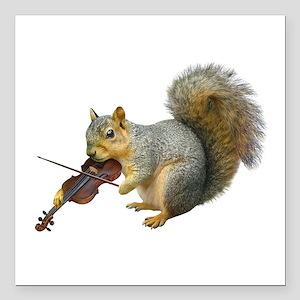 """Squirrel Violin Square Car Magnet 3"""" x 3"""""""