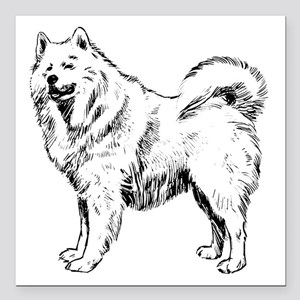 "Samoyed Square Car Magnet 3"" X 3"""