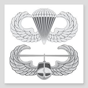 """Airborne Air Assault Square Car Magnet 3"""" x 3"""""""