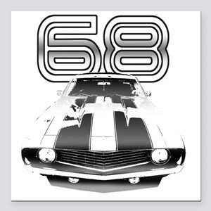 """Camaro Black 1968 Square Car Magnet 3"""" x 3"""""""