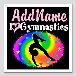 "TOP NOTCH GYMNAST Square Car Magnet 3"" x 3"""
