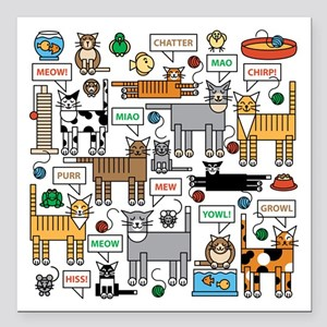 """What Cats Say Square Car Magnet 3"""" X 3"""""""