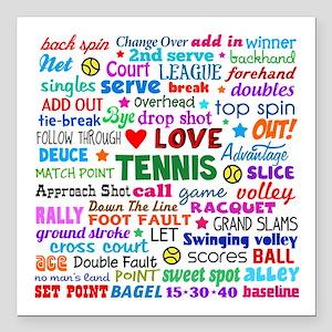 "Tennis Terms Square Car Magnet 3"" x 3"""