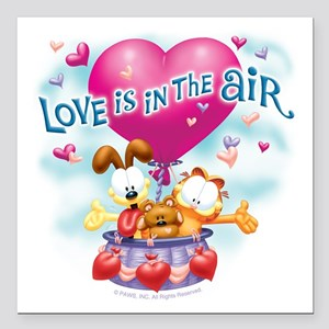 "Love is in the Air Square Car Magnet 3"" x 3"""