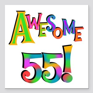 """Awesome 55 Birthday Square Car Magnet 3"""" x 3"""""""