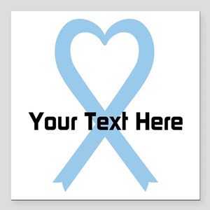 "Personalized Light Blue Square Car Magnet 3"" x 3"""