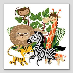 "Animal Safari Square Car Magnet 3"" x 3"""