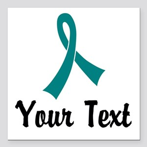 "Personalized Teal Ribbon Square Car Magnet 3"" x 3"""