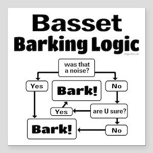 "Basset logic Square Car Magnet 3"" x 3"""