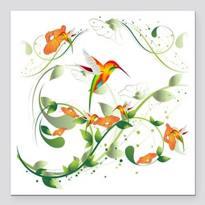 "Hummingbird Morning Square Car Magnet 3"" x 3"""