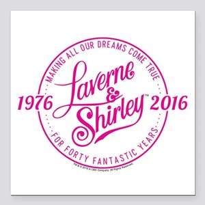 """Laverne And Shirley Logo Square Car Magnet 3"""" x 3"""""""