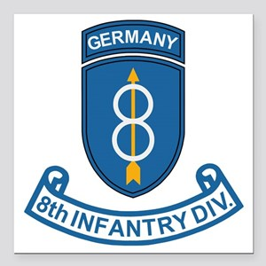"Army-8th-Infantry-Div-6- Square Car Magnet 3"" x 3"""