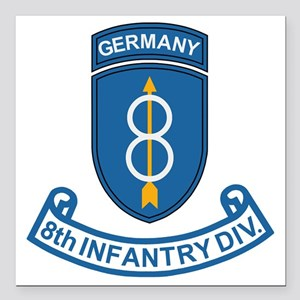 "Army-8th-Infantry-Div-Ge Square Car Magnet 3"" x 3"""