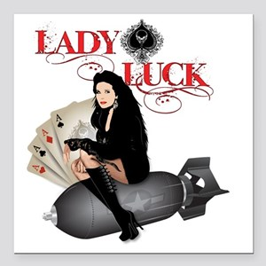 "Lady Luck  Square Car Magnet 3"" x 3"""