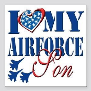 "I Love My Airforce Son Square Car Magnet 3"" x 3"""