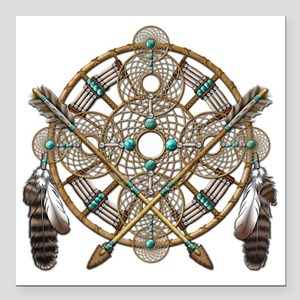 """Turquoise Silver Dreamca Square Car Magnet 3"""" x 3"""""""