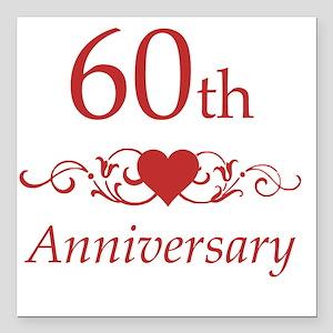 "60th Wedding Anniversary Square Car Magnet 3"" x 3"""
