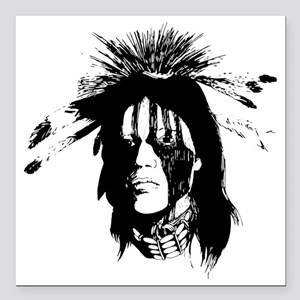 "American Indian Warrior  Square Car Magnet 3"" x 3"""