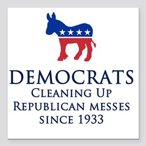 "Democrats Cleaning Square Car Magnet 3"" x 3"""