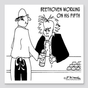 "4256_beethoven_cartoon Square Car Magnet 3"" x 3"""