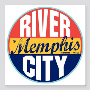 "Memphis Vintage Label W Square Car Magnet 3"" x 3"""