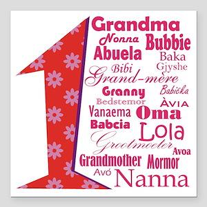 "#1 Grandmother / Square Car Magnet 3"" x 3"""