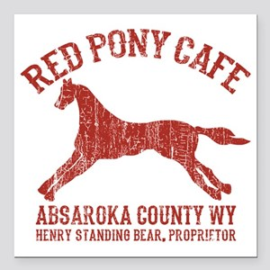 "Longmire Red Pony Square Car Magnet 3"" x 3"""
