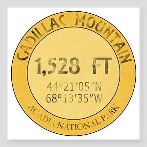 "Cadillac Mountain Square Car Magnet 3"" x 3"""