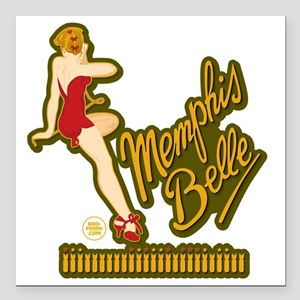 "Memphis Belle Red Nose A Square Car Magnet 3"" x 3"""