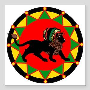 """Jah King Rasta Lion Square Car Magnet 3"""" x 3"""""""