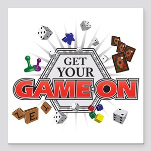 """Get Your Game On - Black Square Car Magnet 3"""" x 3"""""""