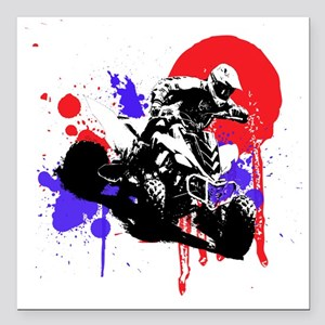 "Red Splatter ATV Square Car Magnet 3"" x 3"""